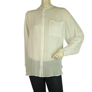 Isabel Benenato Ivory See Through Sheer Silk Shirt Top