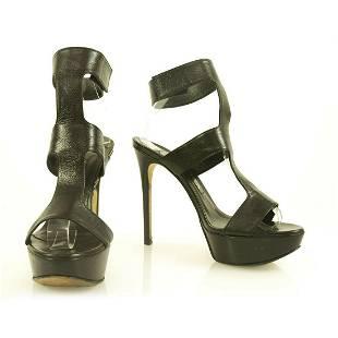 GINA Black Leather Sandals Stilleto Heels size 5.5