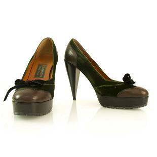 Lanvin Brown and Green Leather and Velvet Bow Platform