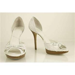Christian Dior White Woven Leather Peep Toe Pumps