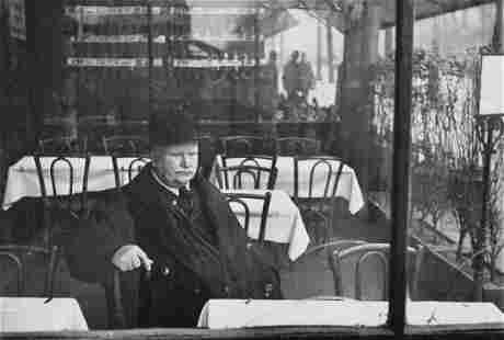 HENRI CARTIER-BRESSON - Man at Cafe, 1940s