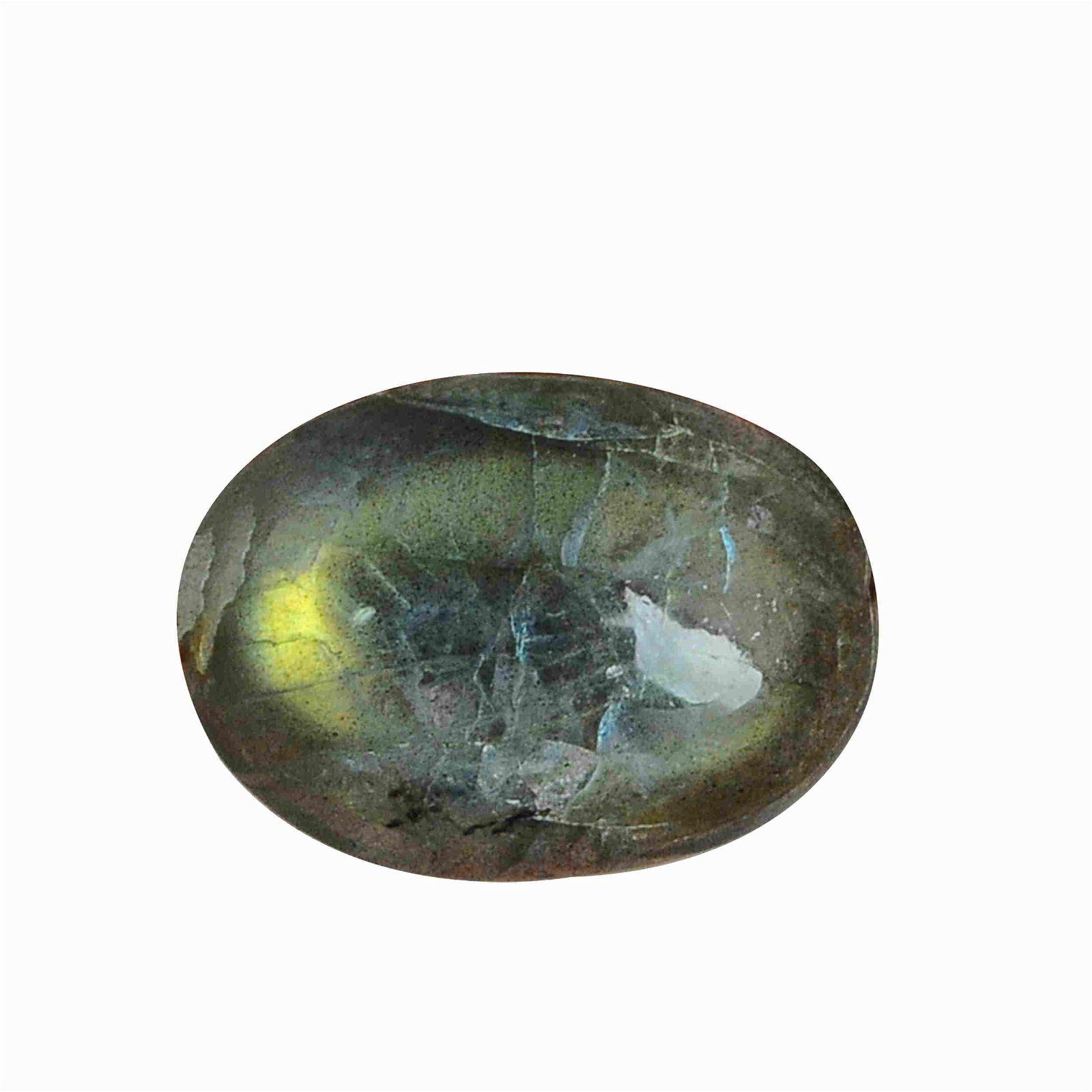 15.85 Carat Green Mix Color Natural Oval Labradorite