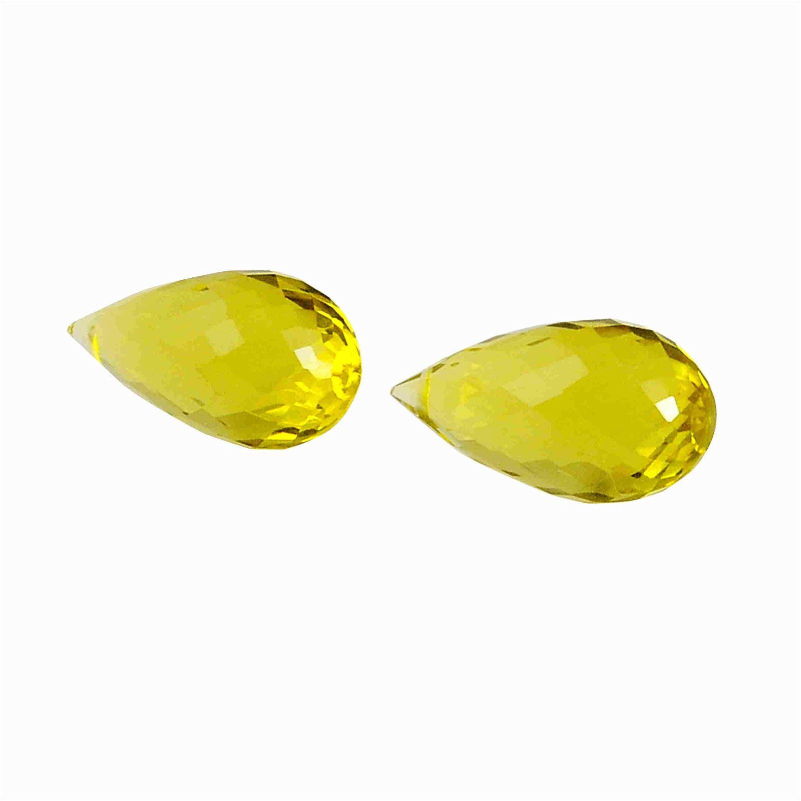 11.65 Carat Yellow Color Natural Drops Lemon Quartz