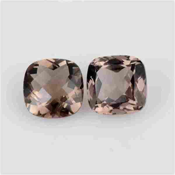 8.05 Ct Cushion Smoky Quartz Loose Gemstone 2 Pieces