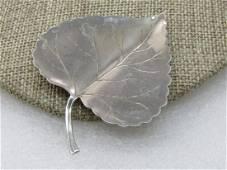 """Vintage Poplar  Leaf Brooch, Silver Tone,  2.75"""" by 2"""","""