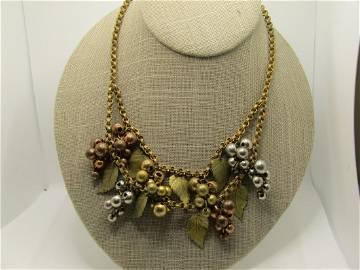 "1940's Leaf & Cluster Beaded Drop Necklace, 15.75"","