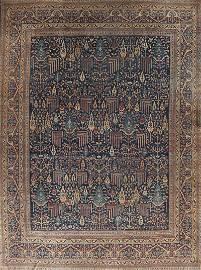 Pre-1900 Antique Vegetable Dye Kerman Lavar Persian Rug