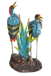 """Two colored Herons fountain - Size: 53""""L x 40""""W x 88""""H."""