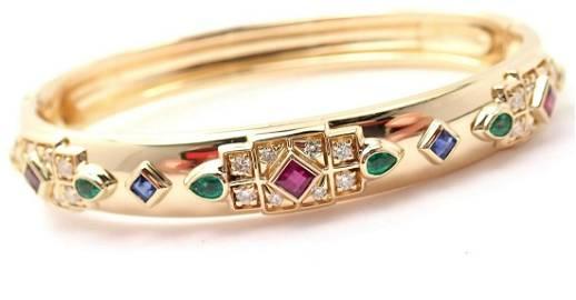 Authentic! Cartier Byzantine 18k Gold Diamond Ruby