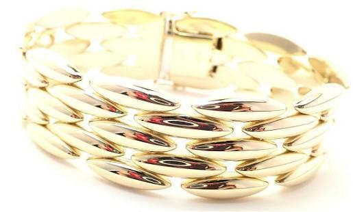 Authentic! Cartier Five-Row 18k Yellow Gold Gentiane