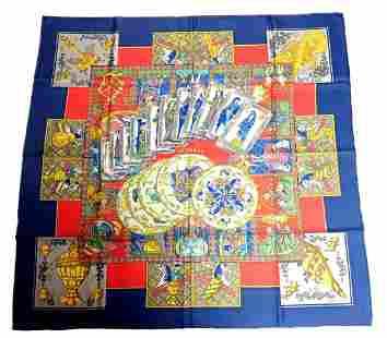 Authentic RARE! Hermes Carre Le Tarot Vintage 90cm Silk