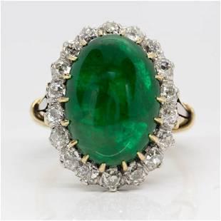 Antique 18k gold and Platinum Natural Emerald & Old