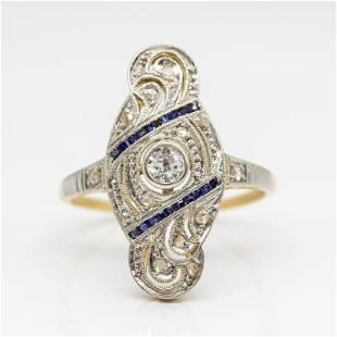 Antique Art Deco 18k and Platinum Diamond and Sapphire