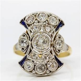 Antique Art Deco 18k Gold and Platinum Diamond and