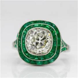 Handmade Platinum Old Mine Cut Diamond and Emerald