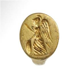 Roman Gold Ring with Figure of Winged Minerva, c. 1st