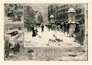 """Felix Buhot """"L'Hiver a Paris"""" original etching on japon"""