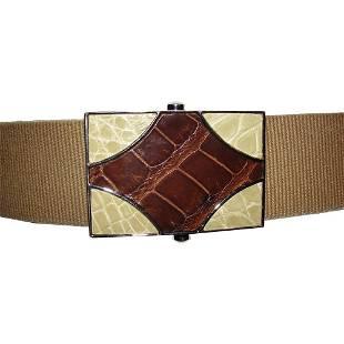 Brown and Tan Embossed Prada Canvas Belt