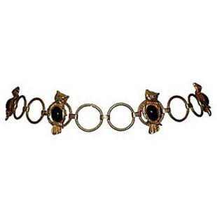 Gold Tone Owl Belt with Simulated Black Onyx Cabochons