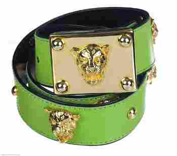 SIGNED ESCADA BRIGHT GREEN LEATHER W PANTHER GOLD TONE