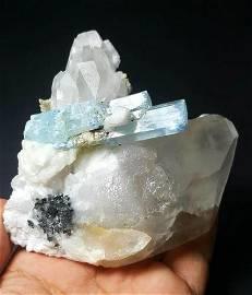 Aquamarine With Quartz Collection Piece - 327 Grams -