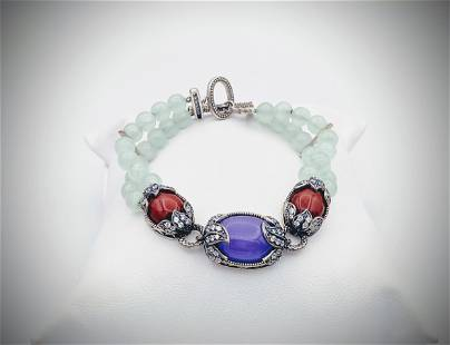 Bracelet w Jade Beads, Violet Jade, Jasper & CZs