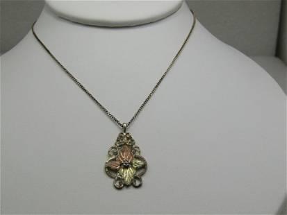 """Vintage 10kt & Sterling Black Hills Gold Necklace, 18"""""""
