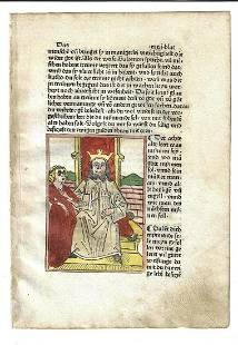 1480 Handcolored Woodcut Golden Throne Augsburg