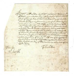 1682 Manuscript Signed Pemberton Chief Justice