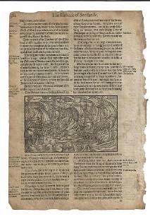 1577 Leaf Holinshed History Scotland Battle Woodcuts