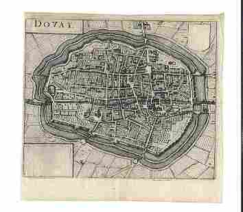 1635 Engraved Plan of Douay by Blaeu