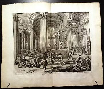 1730 Engraving of Attack in Netherlands Church