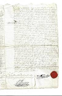 1792 English Indenture Fine Red Wax Seal