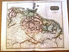 1817 Map Caraccas and Guiana Handcolored
