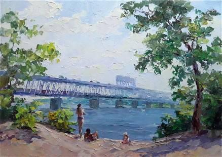 Oil painting Beach on the Dnieper Serdyuk Boris