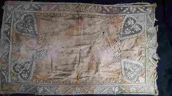 Mughal Hand Embroidered Textile With Silver Work
