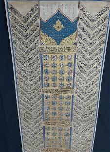 Antique Handwritten Calligraphy Asma Ul Husna Panel