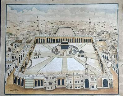 Antique Islamic Handmade View Of Kaaba At Mecca