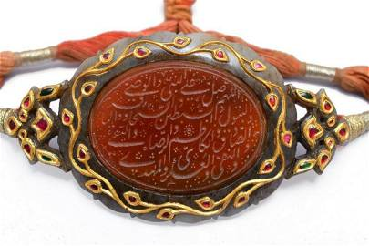Antique mughal handmade jade bazuband studded with