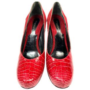 Donna Karan Collections Red Crocodile and Suede Pump