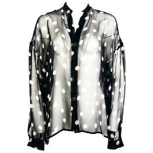 Haider Ackermann Black and White Silk Polka Dots Sheer