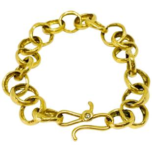 LFrank 18k Hammered Yellow Gold and Diamond Link
