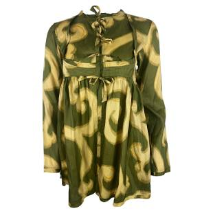 Dries Van Noten Green and Yellow Top Blouse, Size 38