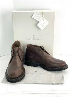 Brunello Cucinelli Brown Men's Distressed Leather