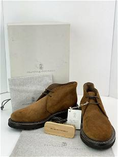 Brunello Cucinelli Mens Waxed Suede Chukka Desert Boots