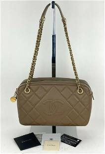 CHANEL CC Camera Case Taupe Medium Quilted Lambskin