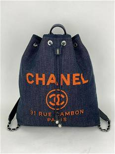 CHANEL DEAUVILLE soft Backpack Travel Bag Blue Denim