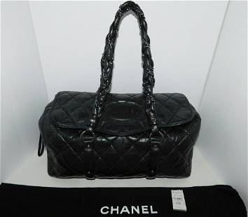 CHANEL DISTRESSED LAMBSKIN Quilted LADY BRAID Black