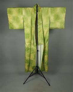 GREEN YELLOW SATIN SILK KIMONO
