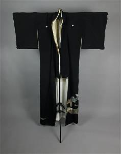 BLACK & GOLD EMBROIDED SILK KIMONO